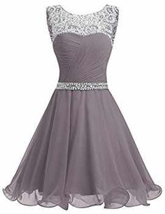 Dresstells® Short Chiffon Open Back Prom Dress With Beading Evening Party Dress Grey Size 6 Open Back Prom Dresses, Hoco Dresses, Party Dresses For Women, Dance Dresses, Dress Outfits, Evening Dresses, Fashion Dresses, Formal Dresses, Dress Prom