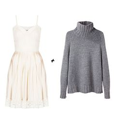 @Who What Wear - Topshop Pale Pink Slip Dress By Meadham Kirchhoff ($80);Stella McCartney Wool-Blend Cardigan ($1128).  (Love the aesthetics of that pairing. . .But that is NOT a cardigan, and the price is absurd.)