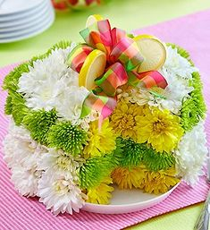 Fresh Flower CakeTM Lemon Cake Shaped Arrangement Of White Yellow And Green