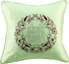 """Wedding gift: Bch Silk with Embroidery Cushion Cover , Throw Cushion Cover Sg1508-1 Chinese Character""""Xi"""" Pattern for Wedding Gift Throw Cushion Cover American Countryside Style Dark Brown"""