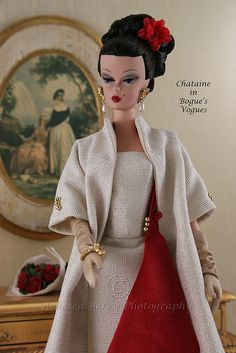 Christmas at Bogue's Vogues: red and ivory wool ensemble for Barbie