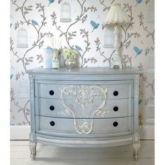 Ornate Baby Blue Chest of Drawers