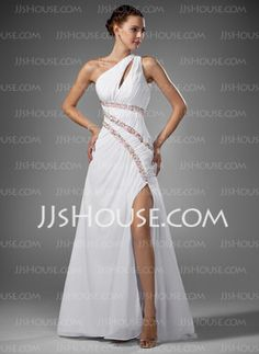 Sheath One-Shoulder Sweep Train Chiffon Prom Dresses With Ruffle Beading (018005081) - JJsHouse