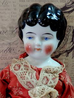 Lovely Antique China Doll Sweet Face Red by LovelyLittlePolkaDot, $88.00