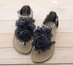 Q Romantic Rose T Bar Strap Ankle Flat Gladiator Sandals Blue Beige Pink Purple