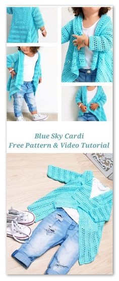 Blue Sky Cardi. Free Pattern, video tutorial, stitch chart and diagram