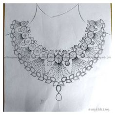 Antique Jewellery Designs, Fancy Jewellery, Womens Jewelry Rings, Jewelry Art, Bridal Jewelry, Flower Pattern Drawing, Fashion Design Books, Necklace Drawing, Hand Embroidery Design Patterns