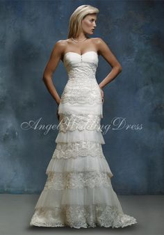 $289 Mermaid Sweetheart Floor Length Attached Lace/Tulle Wedding Dress Style WD62089 at Angelweddingdress