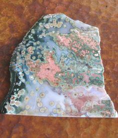 Pink Green Ocean Jasper Mineral Slab Slice by PamelasDesertRocks