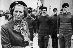 Margaret Thatcher touring the British Occupied North of Ireland in 1981 wearing a beret of the UDR, an infamous British Army militia respons...