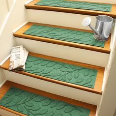 This Brittany Leaf Stair Treads - Set of Four by Bungalow Flooring is perfect! Garage Stairs, Wood Stairs, Basement Steps, Stair Treds, Stair Tread Rugs, Stair Tread Covers, Outdoor Stairs, Indoor Outdoor, Stair Makeover