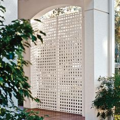 Add privacy to your yard by installing this White Vinyl Square Privacy Lattice from Veranda. Provides durability and long-lasting beauty. Privacy Lattice Panels, Vinyl Lattice Panels, Lattice Patio, Patio Privacy Screen, Decorative Screen Panels, Lattice Wall, Privacy Fence Designs, Square Lattice, Privacy Screens