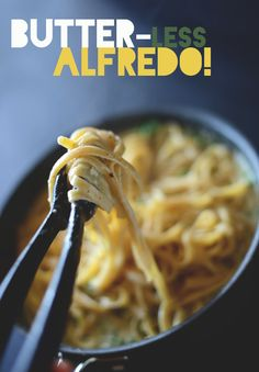 """Butter-Less Alfredo Sauce....""""My alfredo is based with olive oil instead of butter and requires simple ingredients you likely have on hand right now. Pesto, parmesan cheese, milk, flour, garlic, veggie or chicken stock. That's it! And it's so creamy and delicious you wouldn't believe it's actually healthy""""."""
