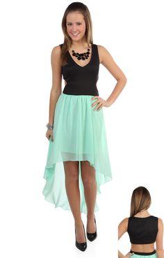 Deb Shops v neck cut out high low #mint dress