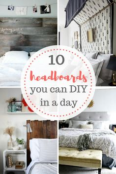 Quick and easy DIY headboard projects. #DIY #decor #patterns http://moodymooch.com/2017/04/03/10-headboards-can-diy-one-day/