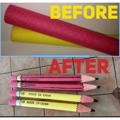 Easy pencils made from pool noodles, cardboard, tape and paint. Back To School Party, Back To School Crafts, 1st Day Of School, Back To School Activities, Classroom Themes, School Classroom, Classroom Decor, School Board Decoration, School Decorations