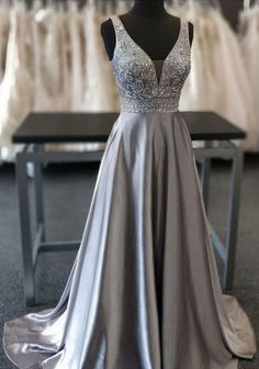 Beautiful Elegant Silver Grey Prom Dress,Beaded Evening Gowns,V Neck Formal Dress,Special Occasion Dress Grey Prom Dress, V Neck Prom Dresses, Beaded Prom Dress, Grad Dresses, Mermaid Prom Dresses, Formal Dresses, Silver Prom Dresses, Silver Gown, Party Dresses