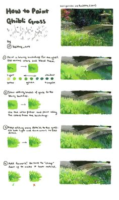 Drawing Tips Another painting tutorial - this time on how to paint Ghibli-style grass - Post with 0 votes and 7162 views. Another painting tutorial - this time on how to paint Ghibli-style grass Digital Painting Tutorials, Digital Art Tutorial, Painting Tips, Painting Techniques, Art Tutorials, Painting Grass, Drawing Tutorials, Concept Art Tutorial, Digital Paintings