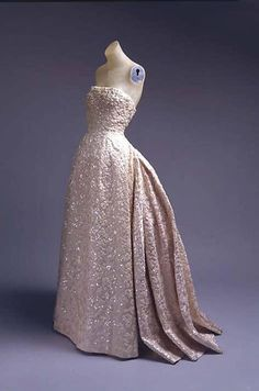 c.1953 Christian Dior Couture Silver & Sequin Fantasy Gown | From a collection of rare vintage evening dresses at https://www.1stdibs.com/fashion/clothing/evening-dresses/