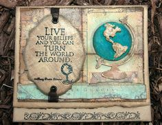 Creativity is Contagious. Card with Tim Holtz Mini Vintage Globe and Artistic Outpost Typography stamp by Candy Colwell.