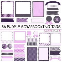 "Digital scrapbooking tags kit: ""36 PURPLE SCRAPBOOKING TAGS"" photo frames, labels, tags, ribbons, buttons in purple for scrapbooking"