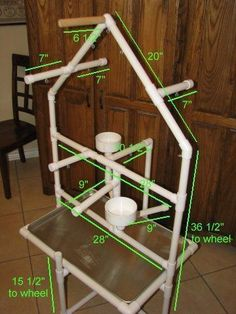 measurements for pvc playstand #parrotfooddiy