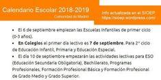 Fechas de inicio de curso escolar en escuelas infantiles, colegios, institutos en septiembre 2018. #calendarioescolar #madrid Madrid, Schools, Special Education, September, Vacations