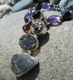 Candlelight necklace - Black Star of India, Druzy, Amethyst, Ammonite - by Janet Bocciardi, Honey from the Bee