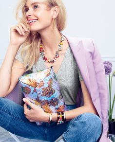 """Add a pop of color to a simple tee and jeans combo with a bright necklace, cuff, or metallic clutch, or really add some """"pow"""" with a mixture of two or three (JCrew)."""