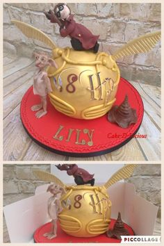 Harry Potter Golden Snitch & Dobby by Cake-D-Licious