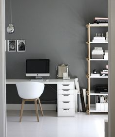 #office inspiration - I enjoy the contrasting colour use (grey / white), the use of texture with timber on chair legs and shelves and metal finish on lighting. Simple and modern lines - use of curve and straights.
