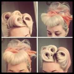 50's hair style by mjsmothers - apart from the very obvious bobby pins, these are beautiful. I wonder how they make the rolls so perfect.