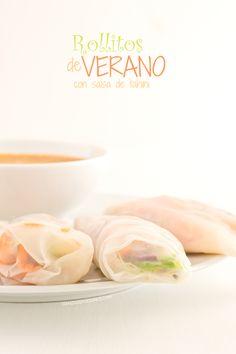 Rollitos de verano con salsa de tahini - danzadefogones.com #vegan