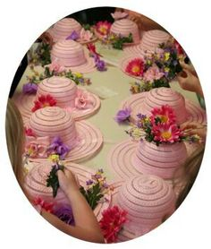 Tea party hats. Save money and get hats from the Dollar Store around Easter