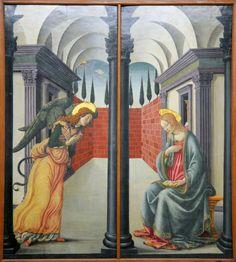 Annunciazione, opera di Francesco Botticini conservata nel Museo della Collegiata di Empoli Angelus, Fra Angelico, San Andreas, Catholic Art, Ciel, Tuscany, Madonna, Medieval, Religion
