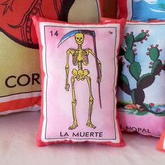 """La Muerte Death Skeleton Mexican Loteria Mini Pillow with Lavender. 3.5"""" x 5.5"""", handmade. Nice touch of fragrance in a drawer or gym bag. These make fantastic Mexican theme party gifts."""