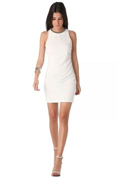 White chain neck halter dress