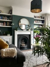 The Blue Room Farrow and Ball Inchyra Blue Semi Detached Living Room The decoration of home is like an exhibit space that reveal. Dark Green Living Room, Dark Living Rooms, New Living Room, Living Room Interior, Home Interior, Green Living Room Ideas, Cozy Living, Small Living, Barn Living