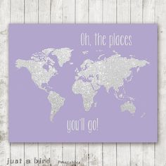 Items similar to Oh the places you'll go PRINTABLE gold glitter nursery map, printable world map,girls room print, coral nursery decor, coral home decor on Etsy Coral Nursery Decor, Lavender Nursery Decor, Glitter Nursery, Coral Home Decor, Glitter Room, Gold Glitter, Glitter Hair, Nursery Ideas, Glitter Eyeshadow