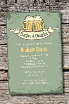 Vintage HUGGIES  CHUGGIES bbq, beer and babies Diaper Party Invitation Printable diy Customizable. $15.00, via Etsy.