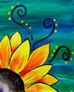 Sunflower Whimsy, whimsical beginner painting idea with swirls., - - Sunflower Whimsy, whimsical beginner painting idea with swirls. Simple Canvas Paintings, Easy Canvas Painting, Painting & Drawing, Acrylic Canvas, Easy Acrylic Paintings, Sunflower Canvas Paintings, Wall Drawing, Painting Lessons, Drawing On Canvas