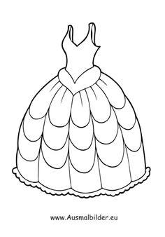 Ausmalbild Brautkleid