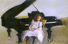 Dziewczynka i fortepian (girl at the piano) by Konrad Krzyżanowski (early expressionism polish painter)