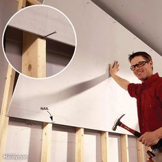 for Easier DIY When You Work by Yourself Hanging that top course of drywall is challenging when you're alone. Make the…Hanging that top course of drywall is challenging when you're alone. Diy Décoration, Easy Diy, Hanging Drywall, How To Hang Drywall, Home Safety Tips, Drywall Installation, Home Decoracion, Home Fix, Diy Home Repair