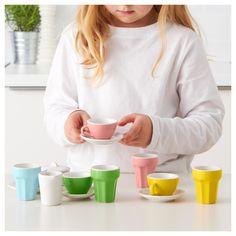 IKEA DUKTIG 10-piece coffee/tea set Mini tea and coffee cups and café latte mugs for play.