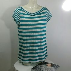 *100 % authentic Burberry brit top turquoise NWT 51% linen 49% cotton, turquoise and white stripped,  bought in Europe at Burberry Burberry Tops
