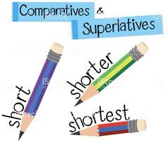 Comparatives Superlatives Short Stock Vector Art & More . Learning English For Kids, Teaching English Grammar, English Language Learning, English Vocabulary, Vocabulary Cards, Learn English Words, English Lessons, Pre Primer Sight Words, English Posters