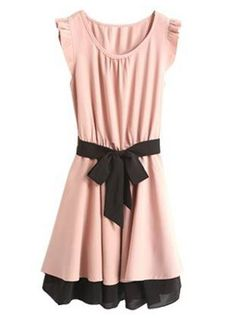 Fashionable Women's Scoop Neck Color Block Butterfly Sleeve Self-Tie Dress