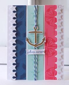 Ahoy-Matey-Card Fun layout--try with stars, flower, or other focal point.
