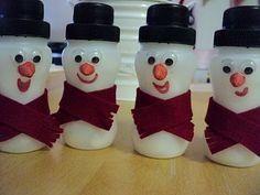 A Little Learning For Two: Yoghurt Bottle Snowmen